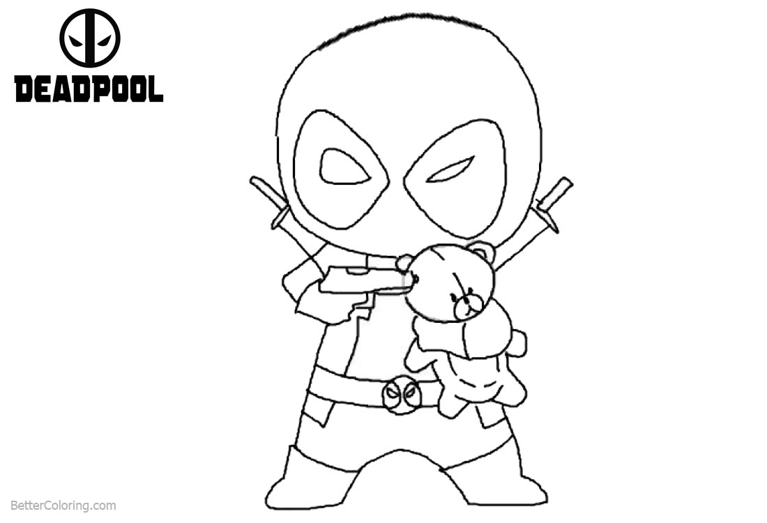 Deadpool Coloring Pages Chibi Deadpool printable for free