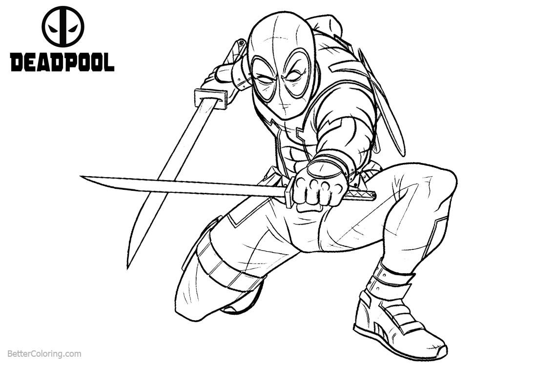 Deadpool Coloring Pages Crouch to Fight printable for free