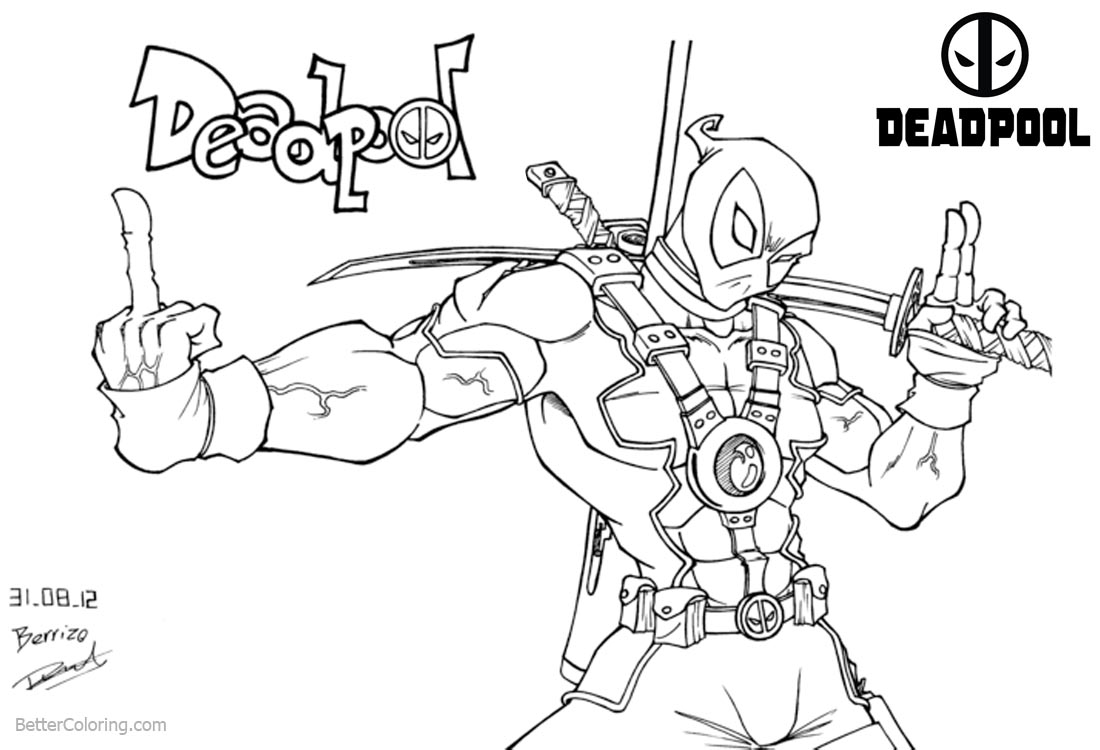 Deadpool Coloring Pages Fan Art printable for free