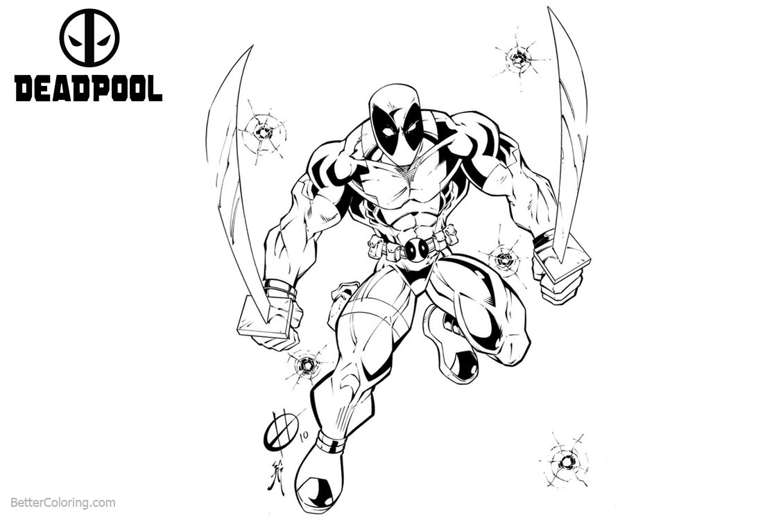 Deadpool Coloring Pages Fan Fiction printable for free