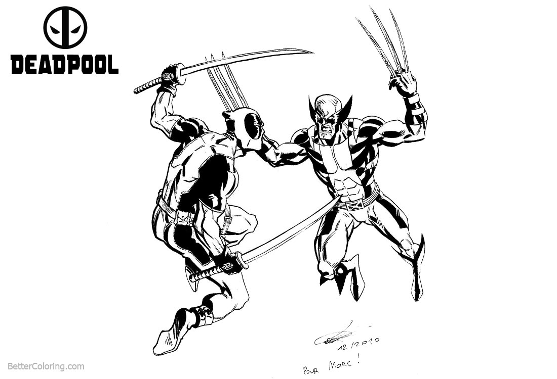 Deadpool Coloring Pages Fight Against Wolverine printable for free