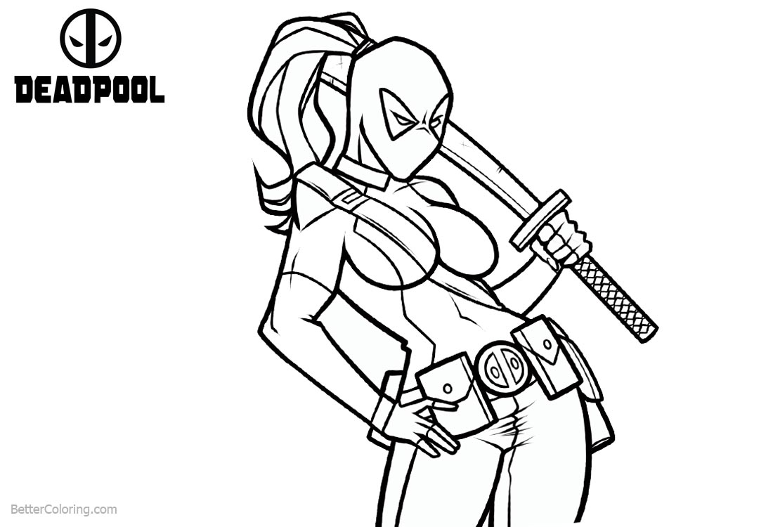 Deadpool Coloring Pages Girl Lineart printable for free