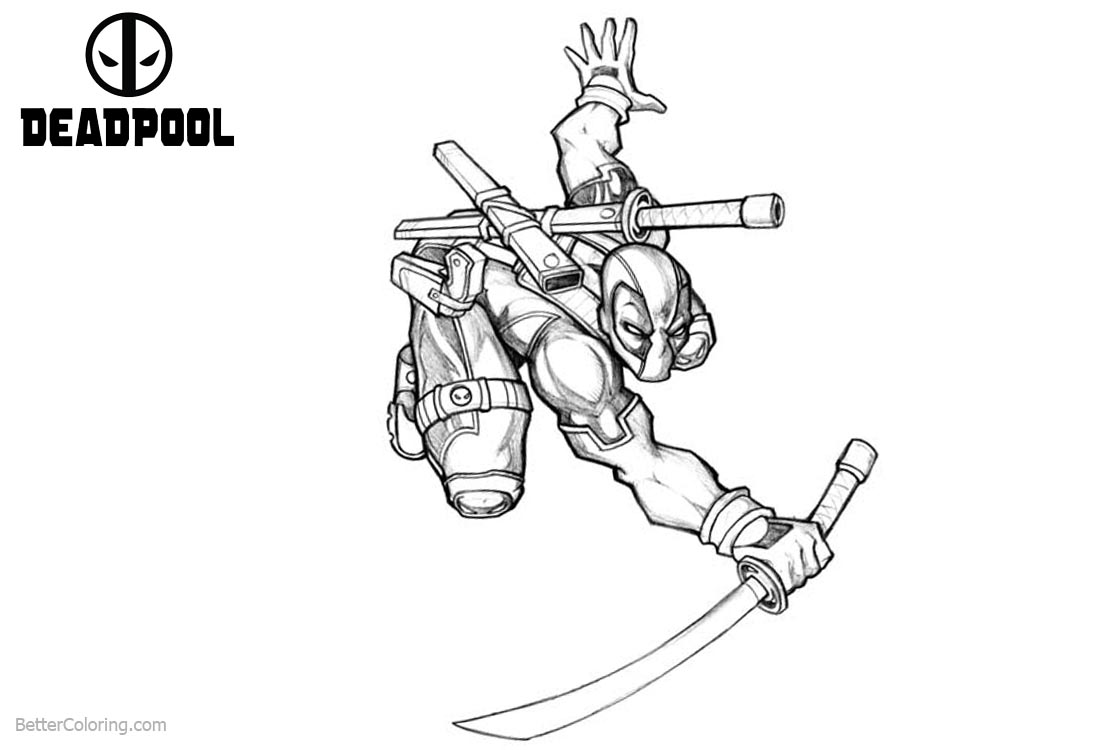 Deadpool Coloring Pages Handrawing printable for free