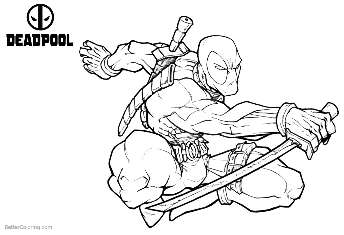 Deadpool Coloring Pages Jumping Fight printable for free