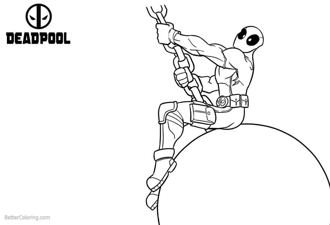 Deadpool Coloring Pages Line Art - Free Printable Coloring Pages