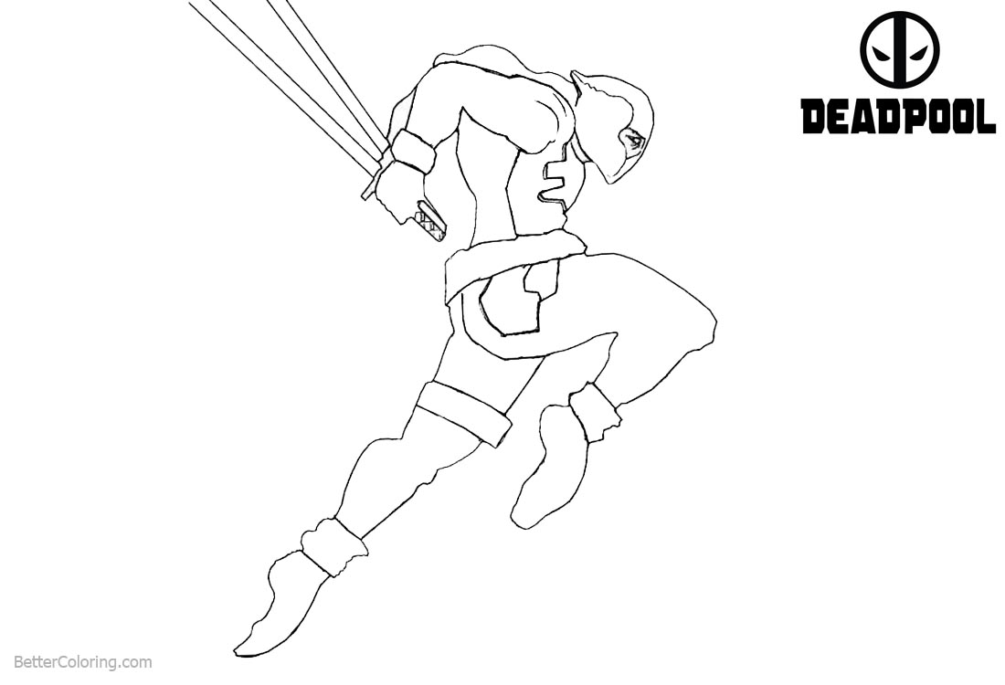 Deadpool Coloring Pages Line Drawing printable for free