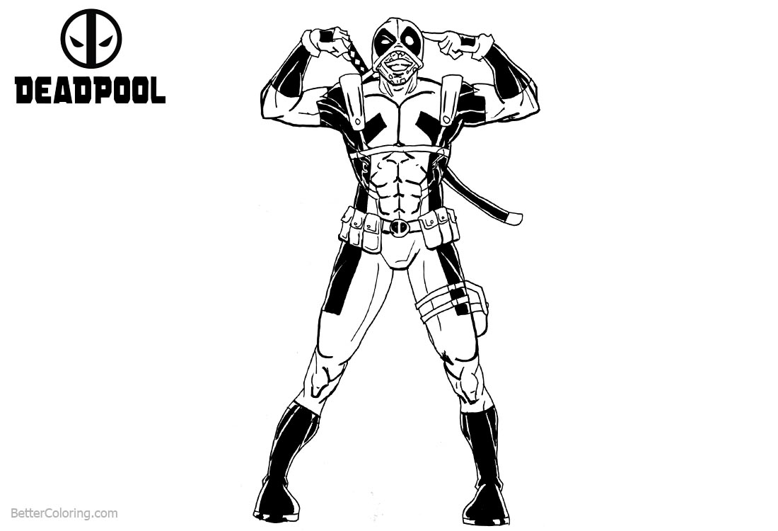Deadpool Coloring Pages Make Face printable for free
