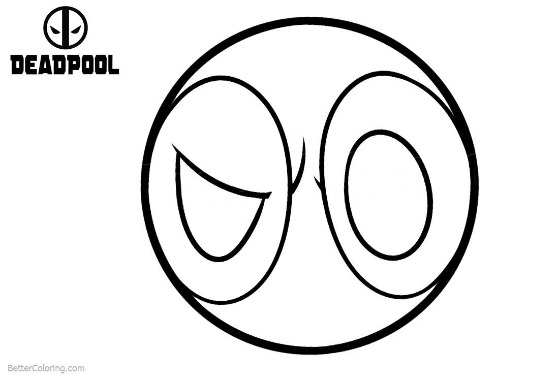 Deadpool Coloring Pages Mask Logo printable for free