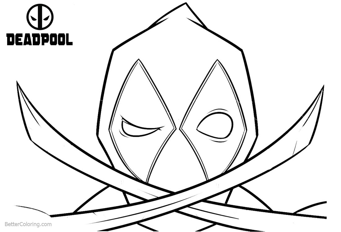 Deadpool Coloring Pages Outline printable for free