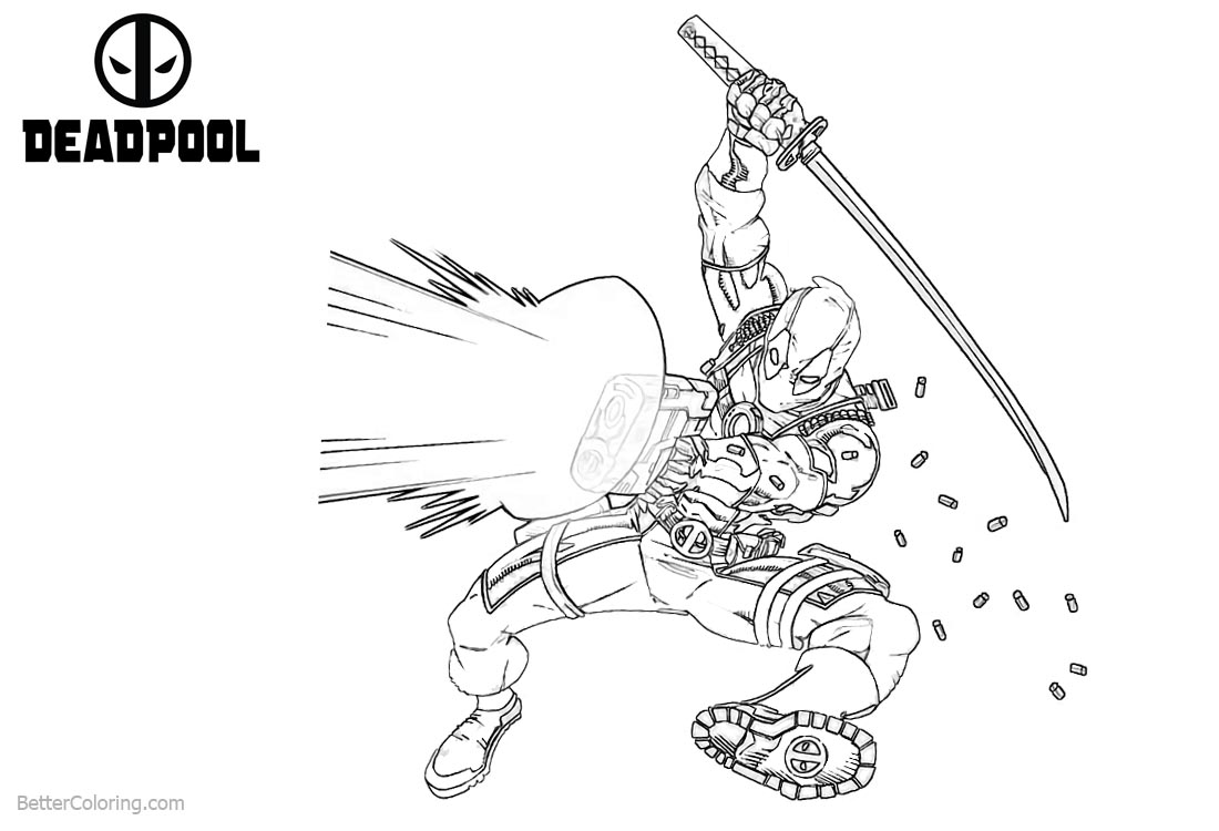 Deadpool Coloring Pages Powerful Gun Shoting printable for free
