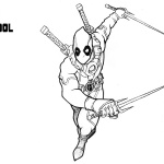 Deadpool Coloring Pages Ready Fo Fight With His Katana