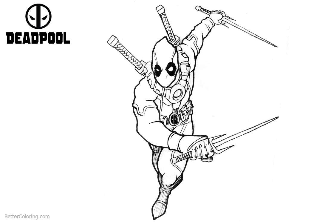 Deadpool Coloring Pages Running to Fight printable for free
