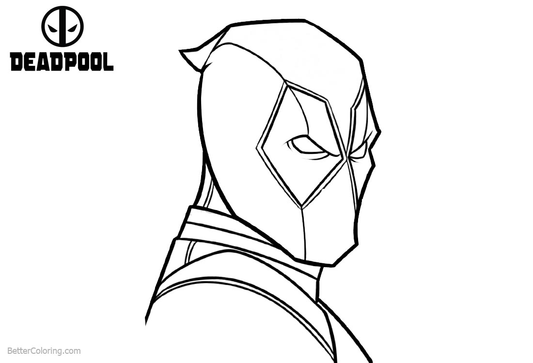 Deadpool Coloring Pages Simple Outline Drawing Free Printable