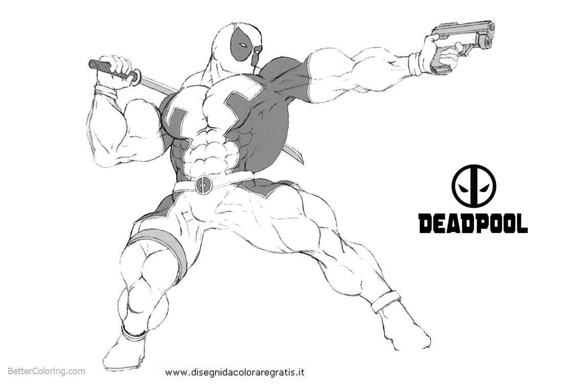 Deadpool Coloring Pages Strong Muscle printable for free