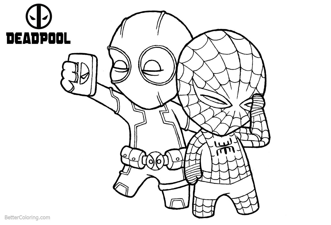 Deadpool coloring pages take selfie with spiderman free for Deadpool printable coloring pages