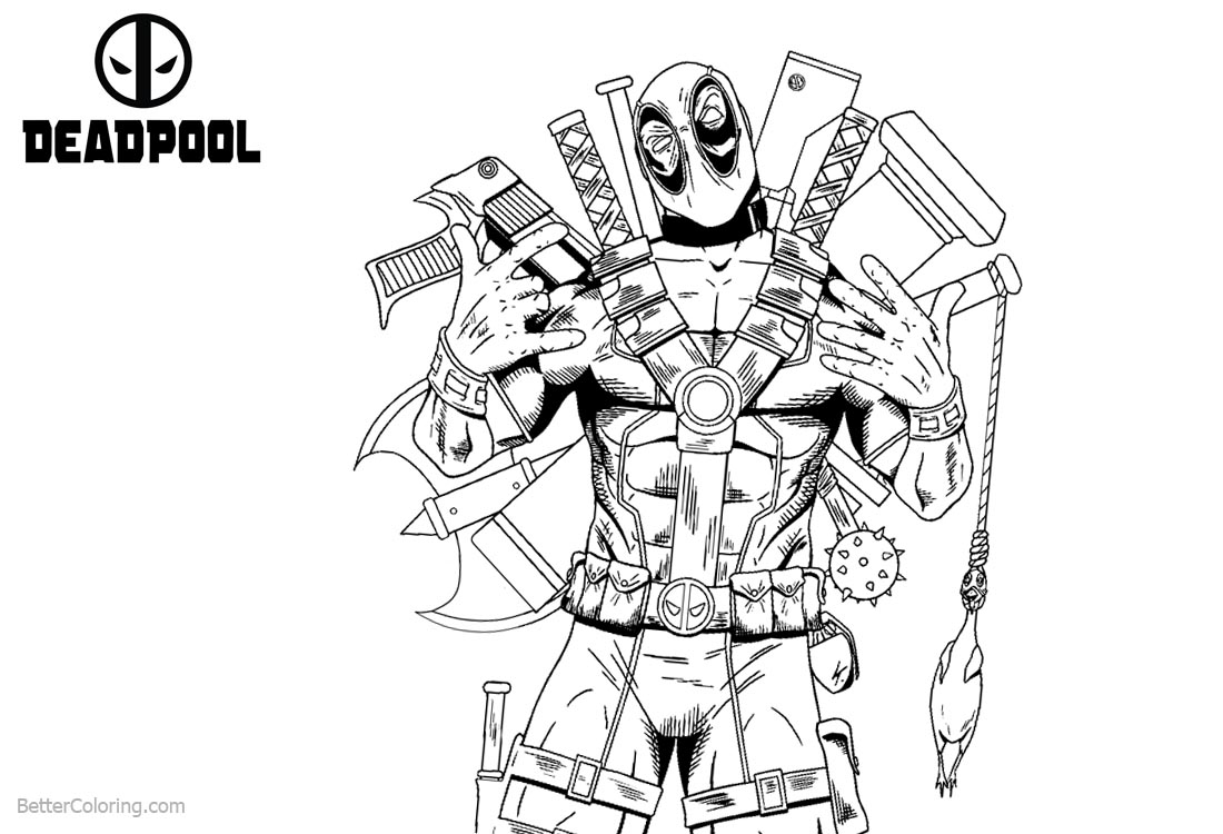 Deadpool Coloring Pages with Lots of Weapons printable for free