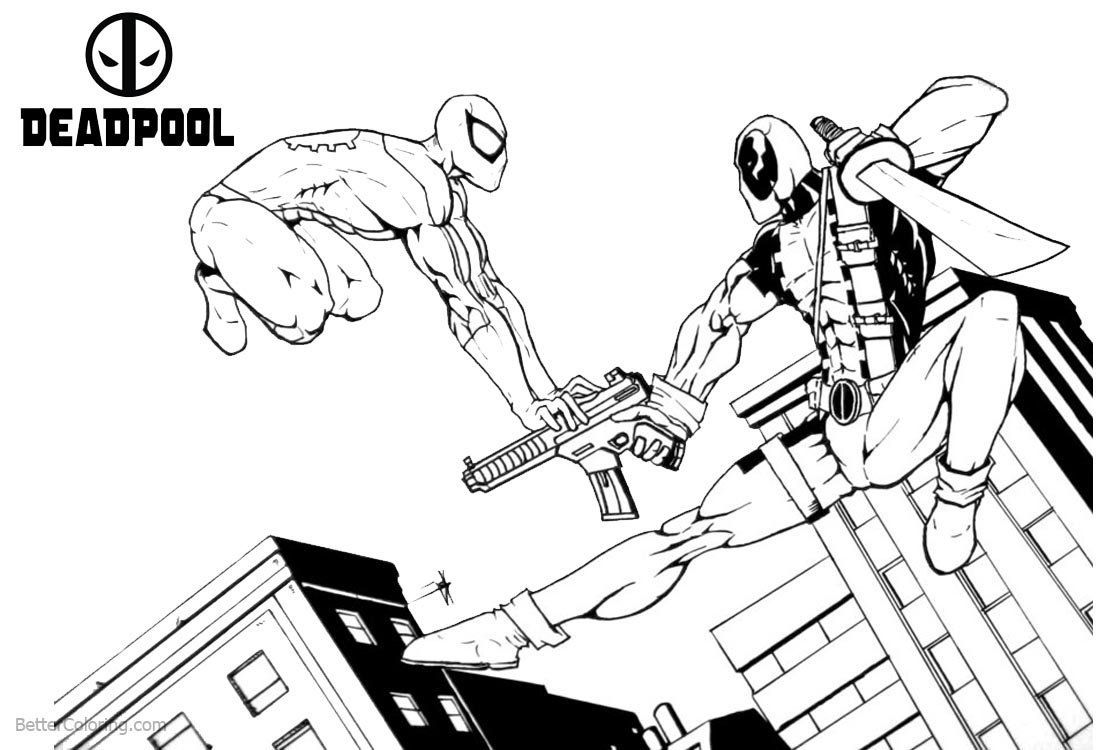 Deadpool Coloring Pages with Super Hero Spiderman printable for free