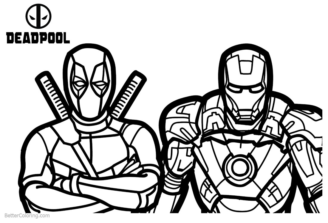 Deadpool Coloring Pages with Superhero Ironman printable for free