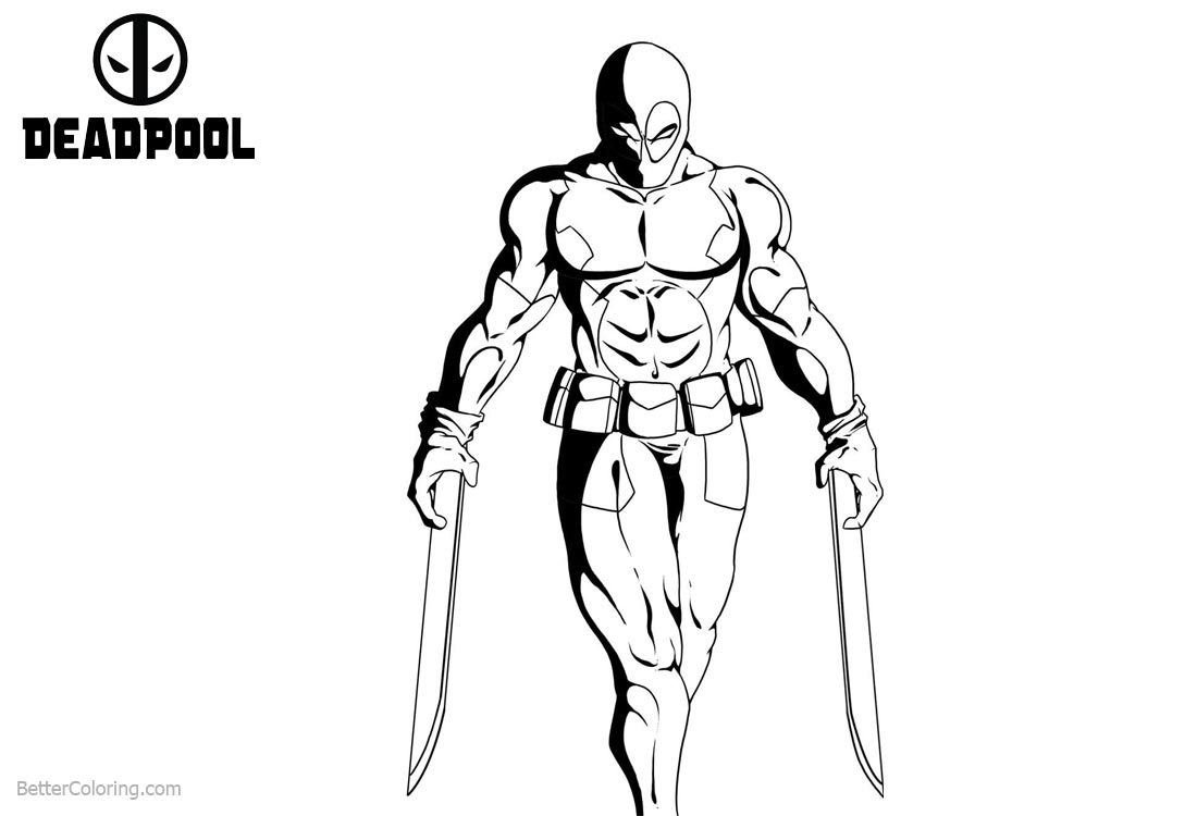 Deadpool Coloring Pages with Two Katanas printable for free