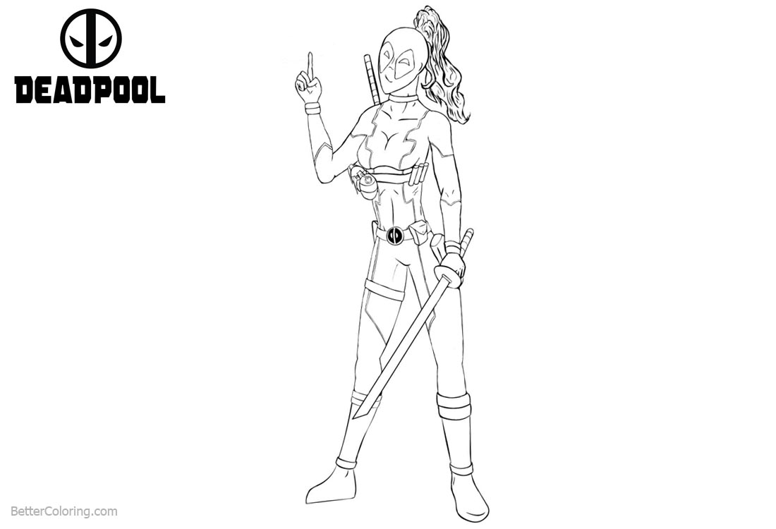 Deadpool Girl Coloring Pages Line Art printable for free