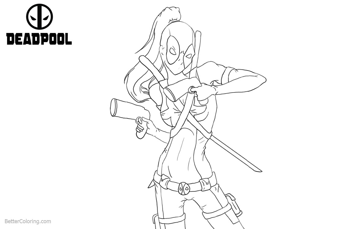 Deadpool Girl Coloring Pages with Two Guns printable for free