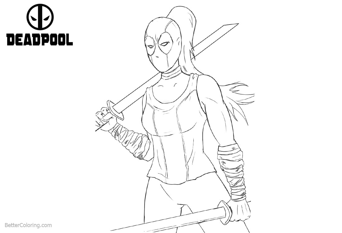 Deadpool Super Girl Coloring Pages printable for free