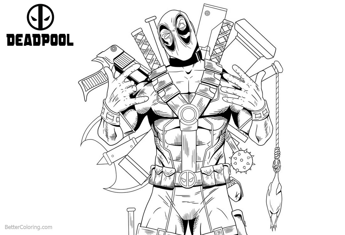 Deadpool from Marvel Coloring Pages printable for free