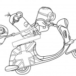 Despicable Me Minion Coloring Pages Motorcycle Running