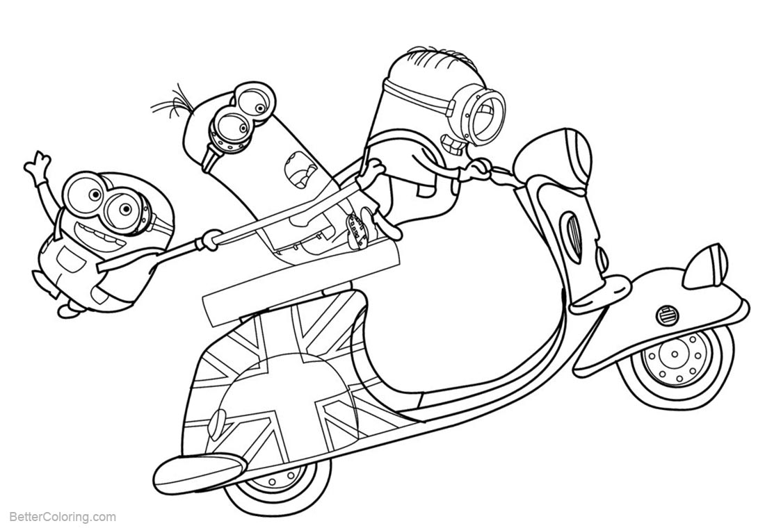 Despicable Me Minion Coloring Pages Motorcycle Running printable for free