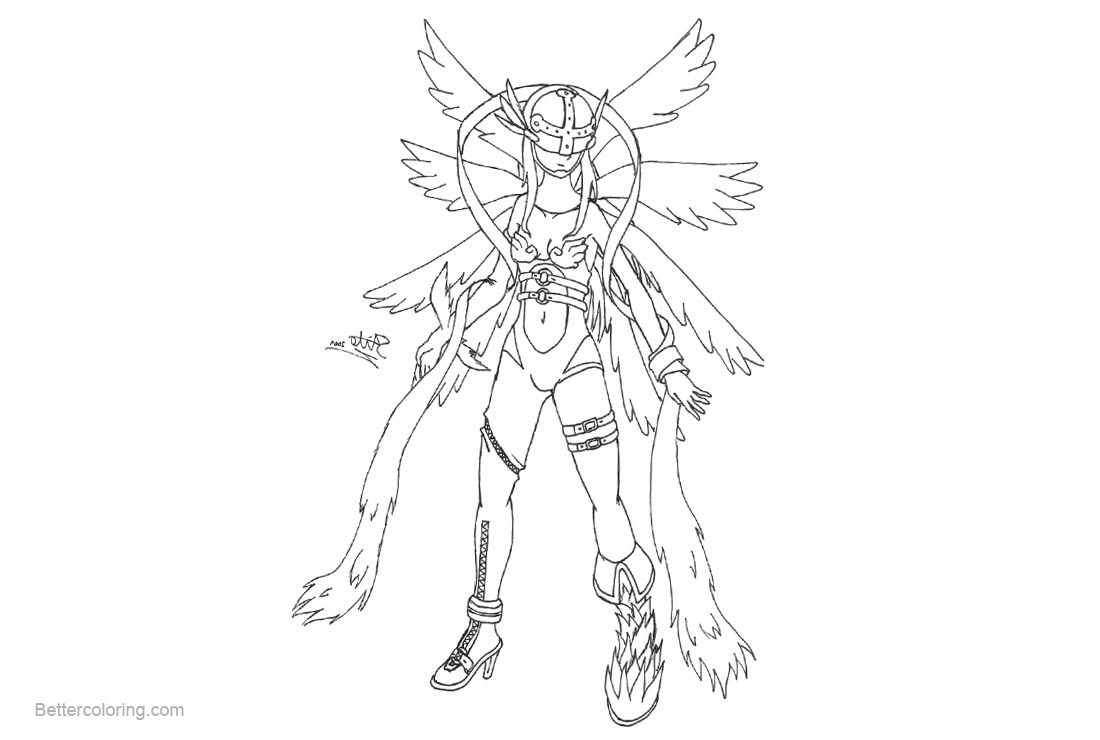 Free Digimon Coloring Pages Angewomon by s4itox printable
