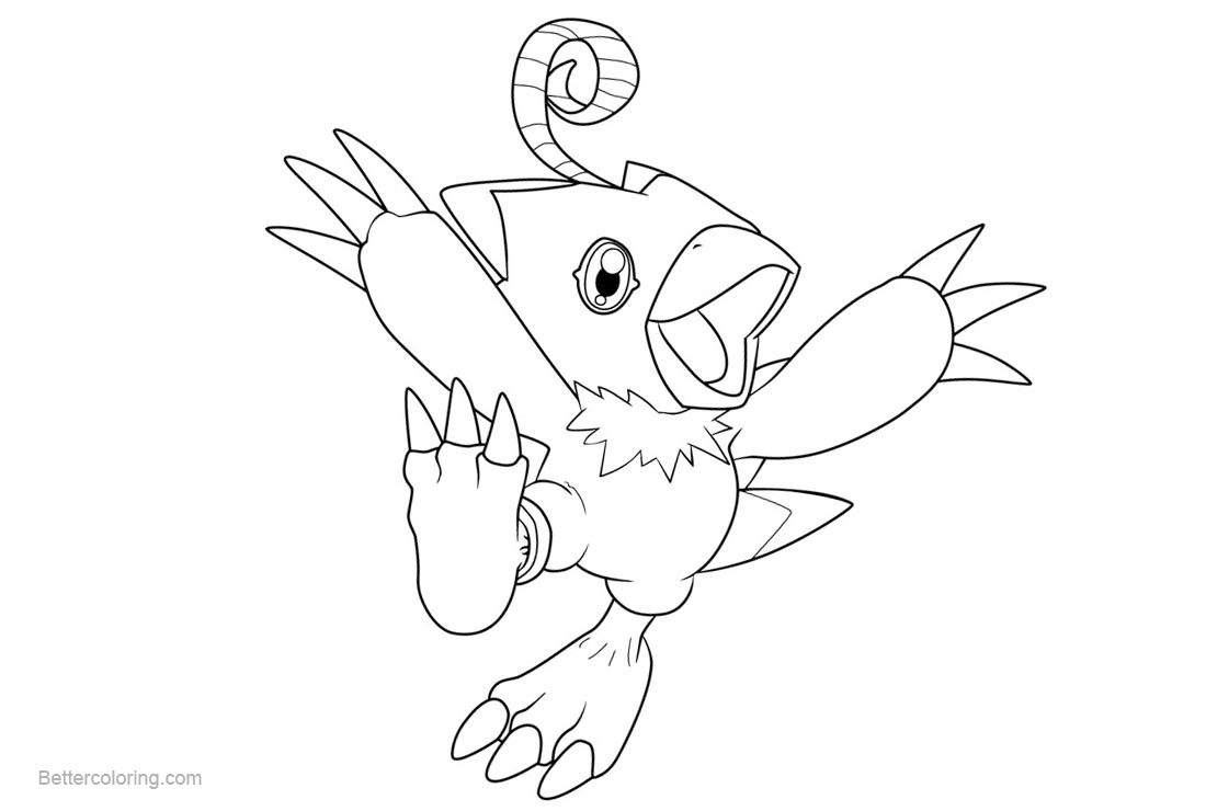 Free Digimon Coloring Pages Biyomon by Greatveemon printable