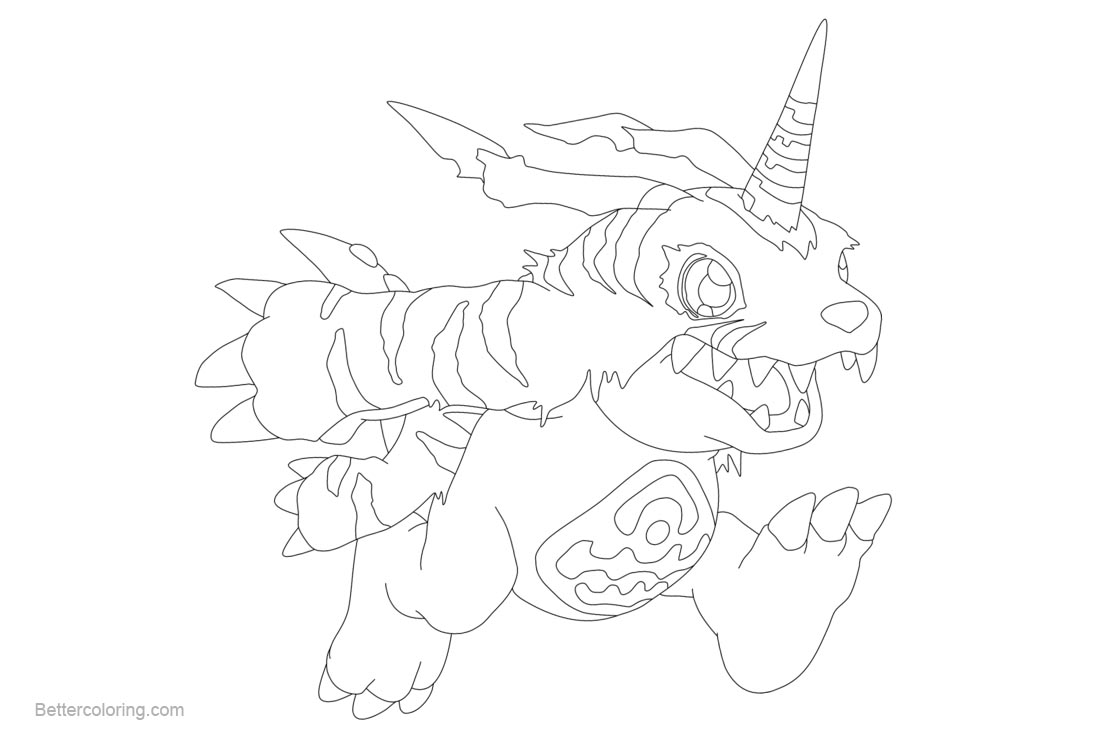 Free Digimon Coloring Pages Gabumon Fanart by inukawaiilover printable
