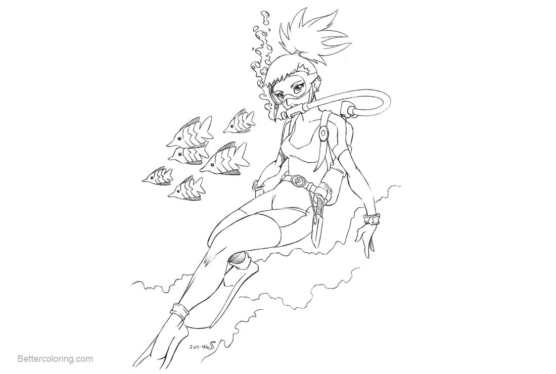 Free Digimon Coloring Pages Older Rika Sketch Scuba by shoxxe printable