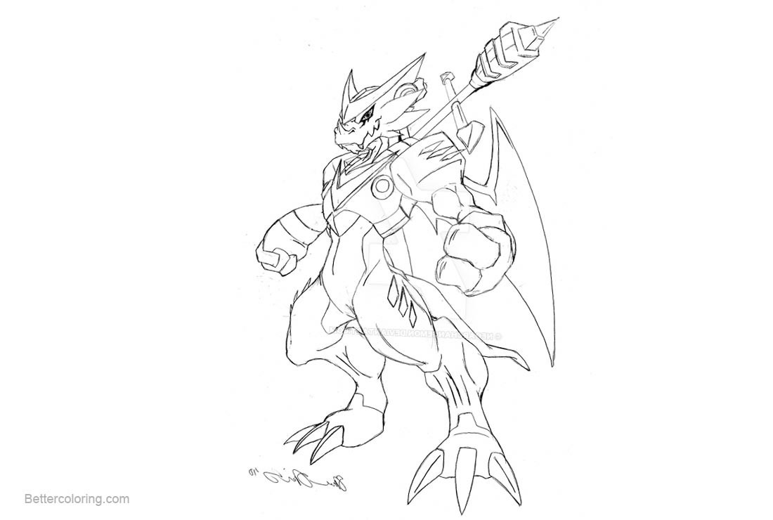 Free Digimon Coloring Pages Shoutmon Lineart by neoarchangemon printable