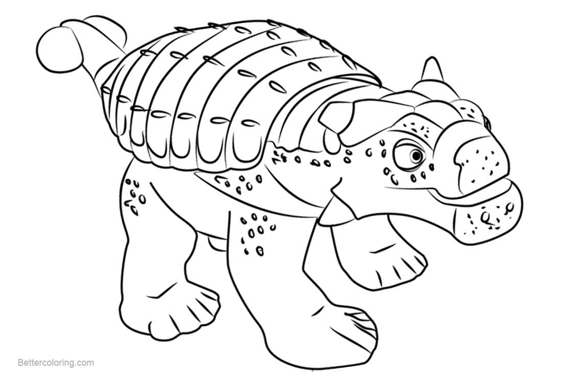 Free Dinosaur Train Coloring Pages Hank Ankylosaurus printable