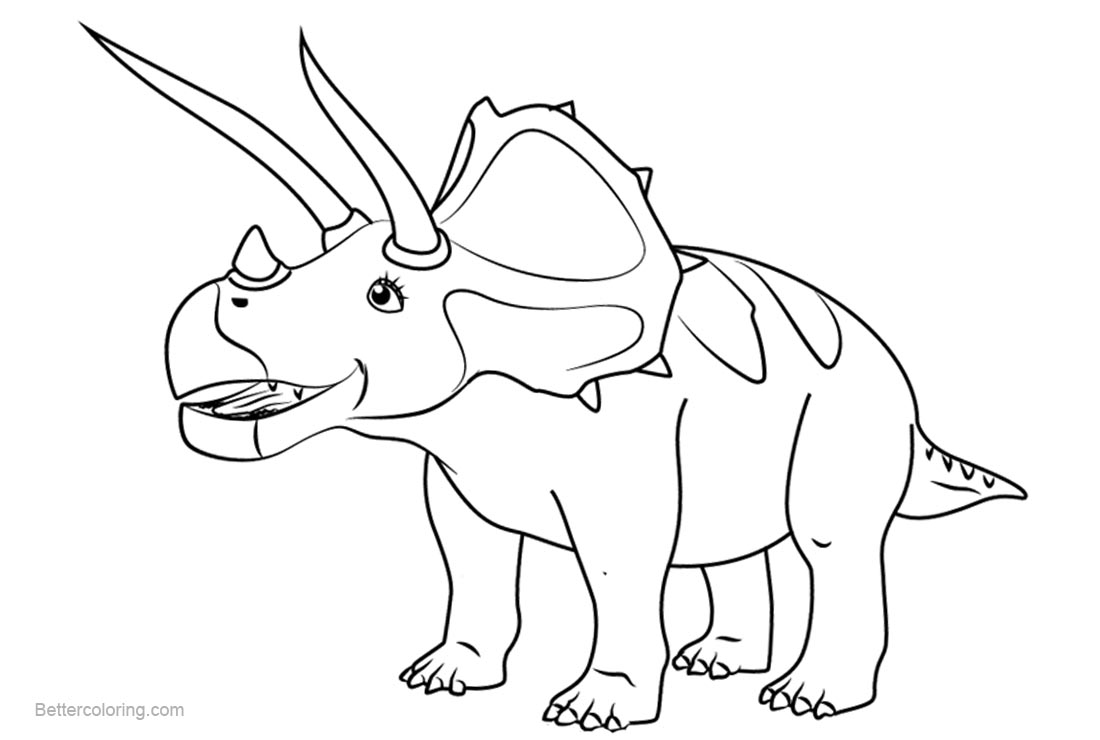 Free Dinosaur Train Coloring Pages Todd Triceratops printable