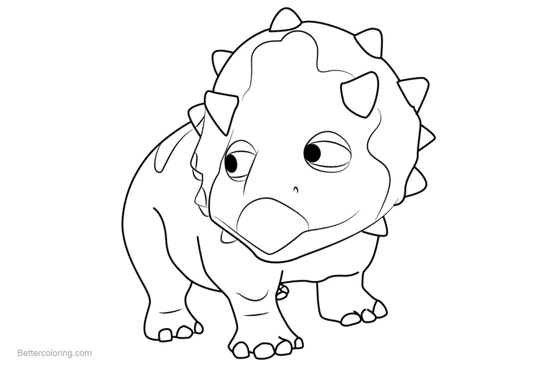 Free Dinosaur Train Coloring Pages Tuck Triceratops printable