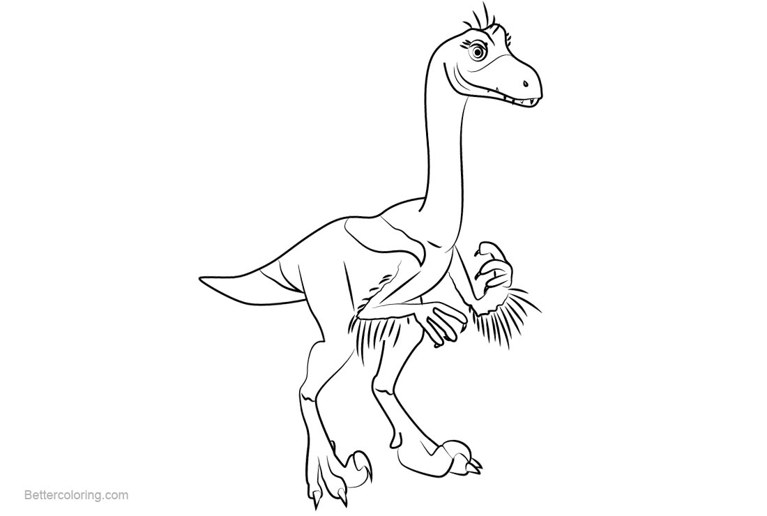 Free Dinosaur Train Coloring Pages Valerie Velociraptor printable