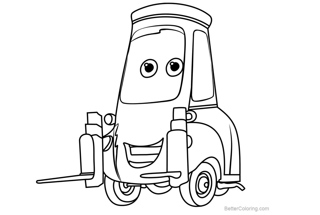 guido cars coloring pages | Disney Cars 3 Coloring Pages Guido - Free Printable ...