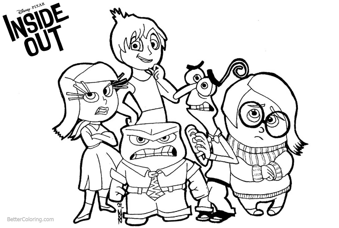 Disney Inside Out Coloring Pages Characters printable for free