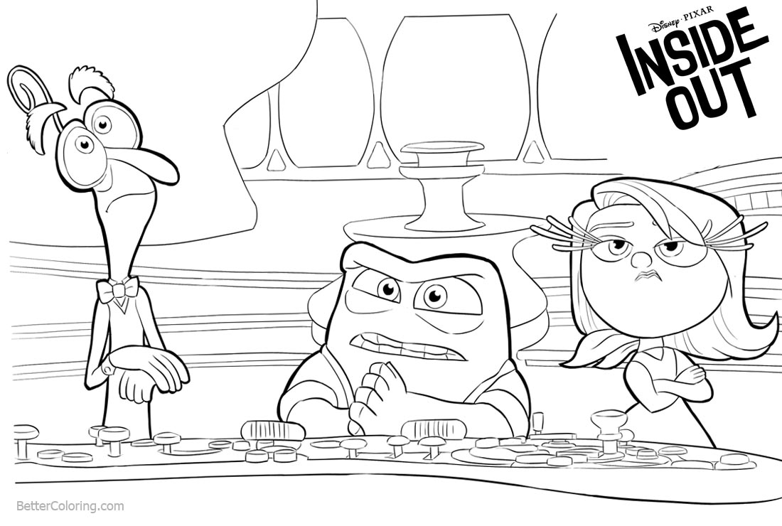 Disney Inside Out Coloring Pages printable for free