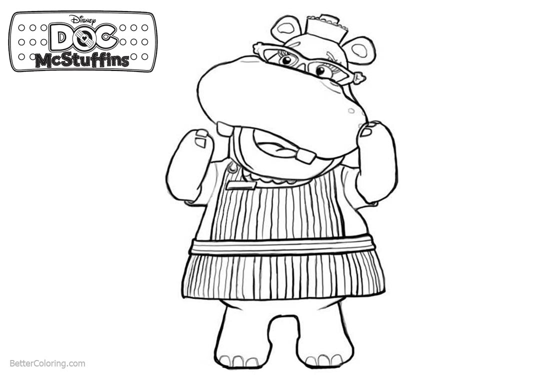 Doc McStuffins Coloring Pages Character Hallie Line Art printable for free