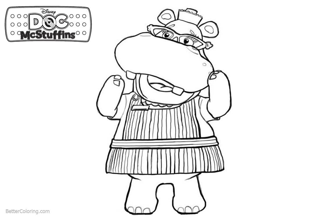 Doc McStuffins Coloring Pages Character Hallie Line Art Free