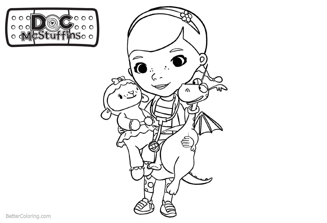 Doc McStuffins Coloring Pages Characters Lambie and Stuffy ...