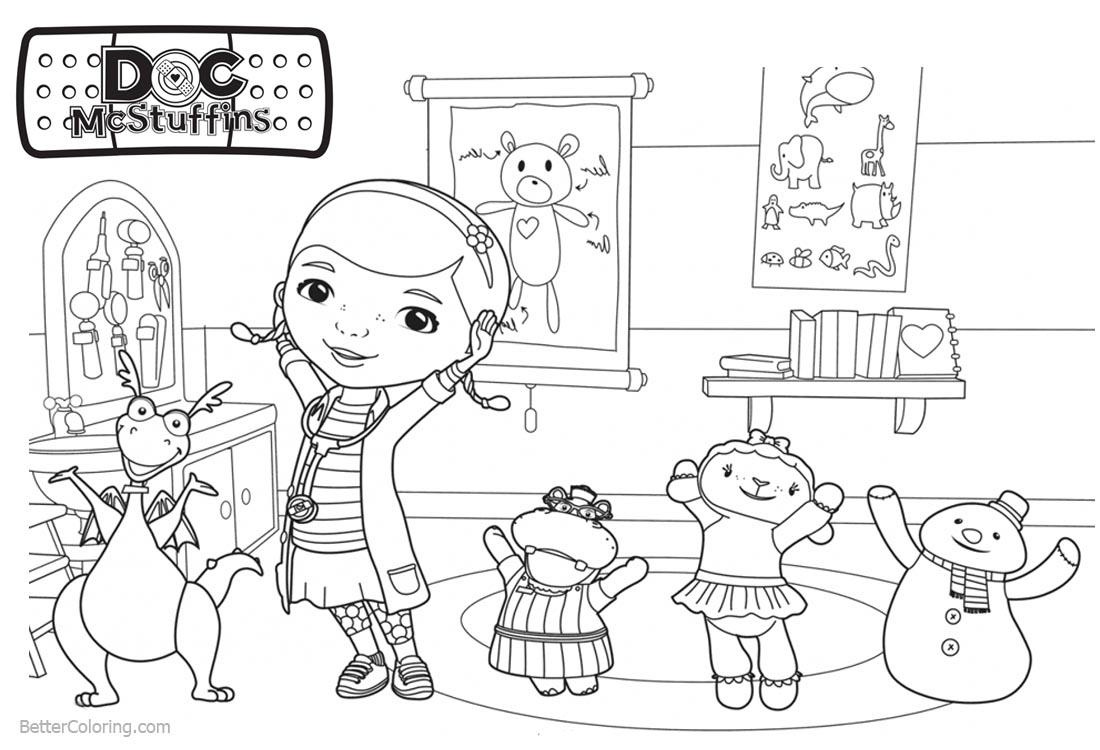 Doc McStuffins Coloring Pages Dancing Together - Free Printable ...