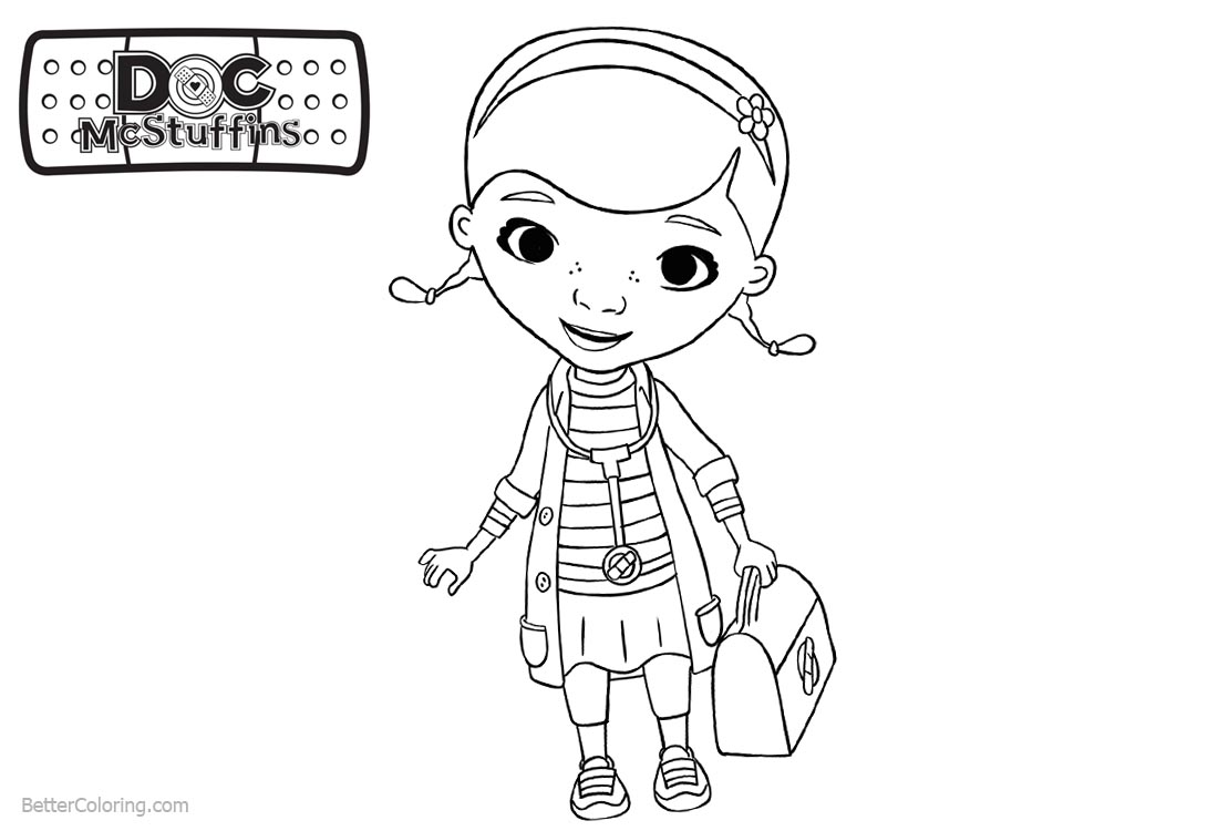 Doc McStuffins Coloring Pages Dottie Go to Work printable for free