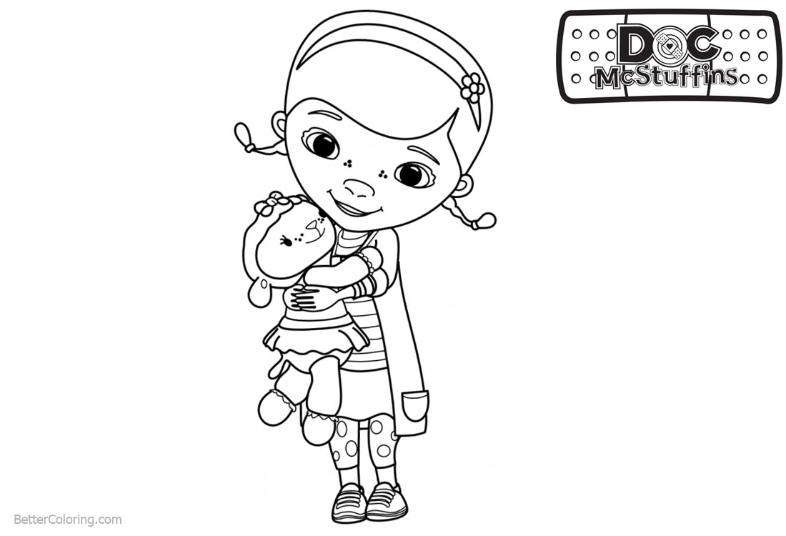Doc McStuffins Coloring Pages Dottie Hold Lambie - Free Printable ...