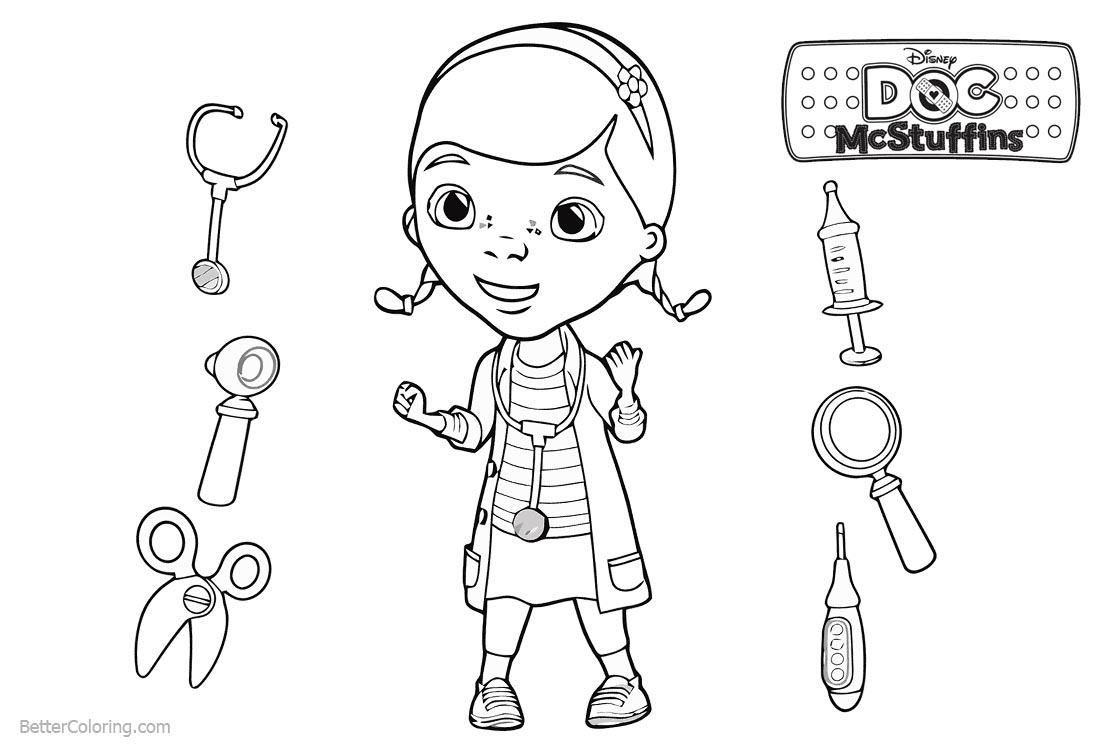 Doc McStuffins Coloring Pages Dottie Lineart - Free Printable ...