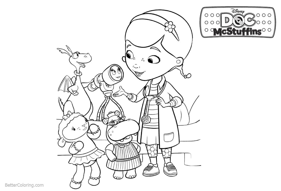 image regarding Doc Mcstuffins Printable Coloring Pages known as Document McStuffins Coloring Internet pages Dottie and Good friends - Absolutely free