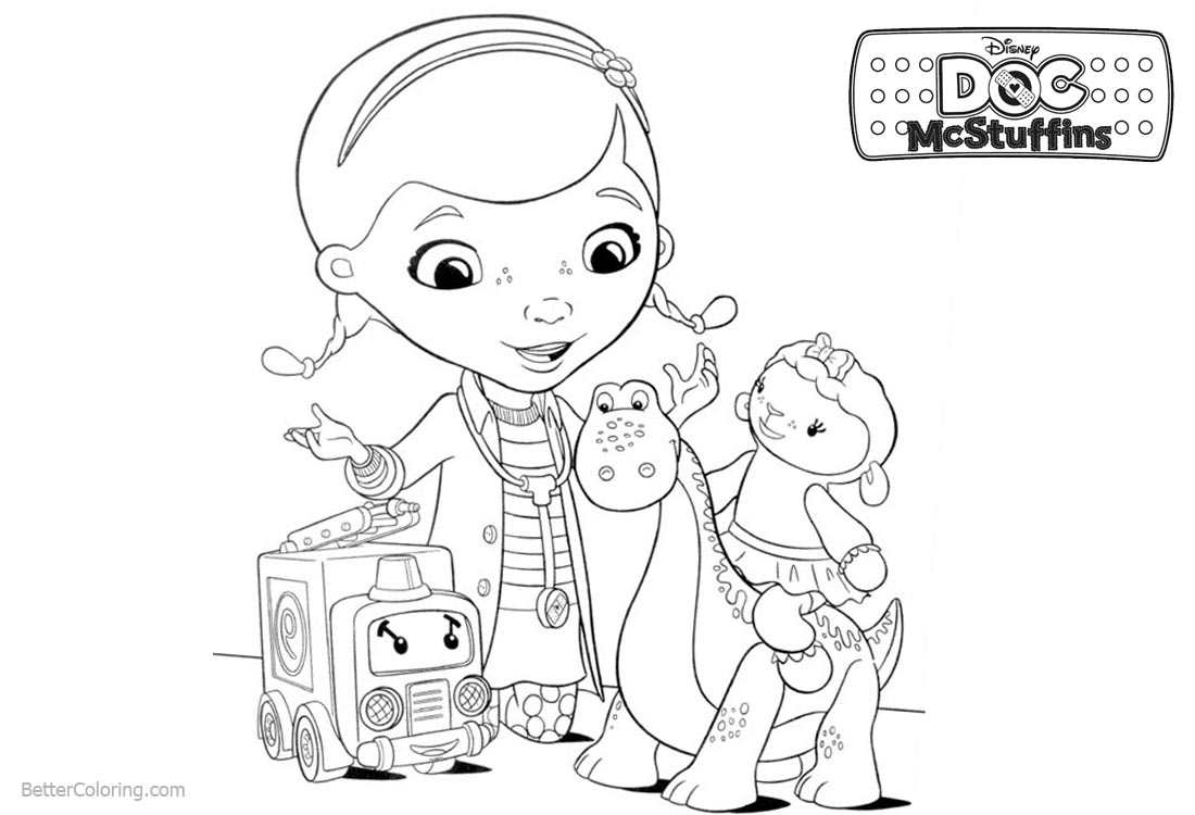Doc McStuffins Coloring Pages Dottie and Lambie printable for free